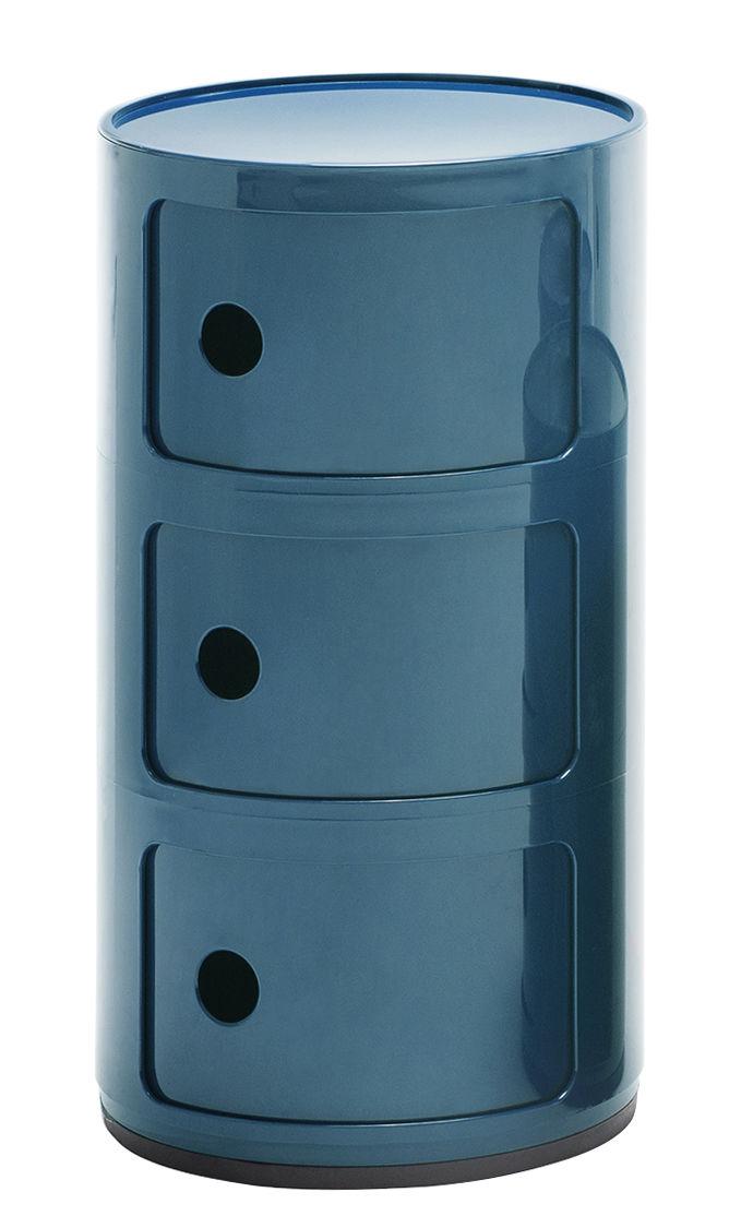 Arredamento - Mobili per bambini - Portaoggetti Componibili / 3 cassetti - H 58 cm - Kartell - Blu petrolio - ABS
