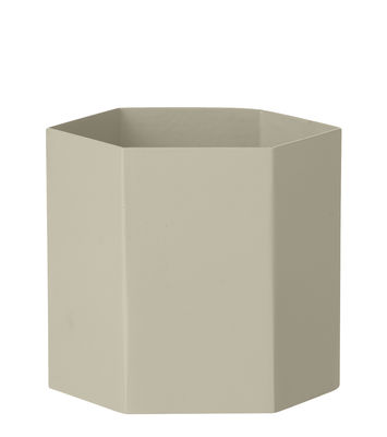 Pot de fleurs Hexagon Large / Ø 13.5 cm x H 12 cm - Ferm Living gris en métal