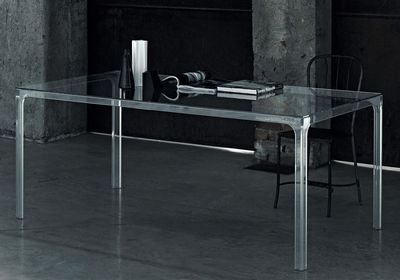 Furniture - Dining Tables - Oscar Rectangular table - 190 x 90 cm by Glas Italia - Transparent - Tempered glass