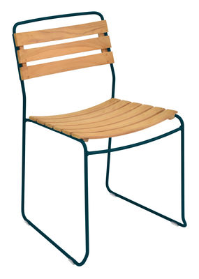 Furniture - Chairs - Surprising Stacking chair - / Wood & metal by Fermob - Acapulco blue - Oiled teak, Painted steel