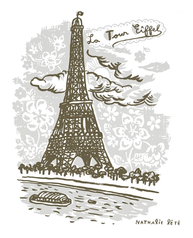 Dekoration - Für Kinder - La Tour Eiffel Sticker 50 x 50 cm - Domestic - Grau - Vinyl