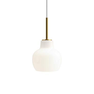 Luminaire - Suspensions - Suspension VL Ring Crown /  Ø 19 cm - Réédition 1940 - Louis Poulsen - Blanc / Laiton - Laiton, Verre soufflé bouche