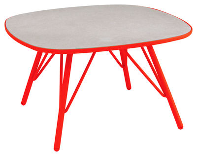 Table basse Lyze / 70 x 70 cm - Fibre-ciment - Emu rouge en métal