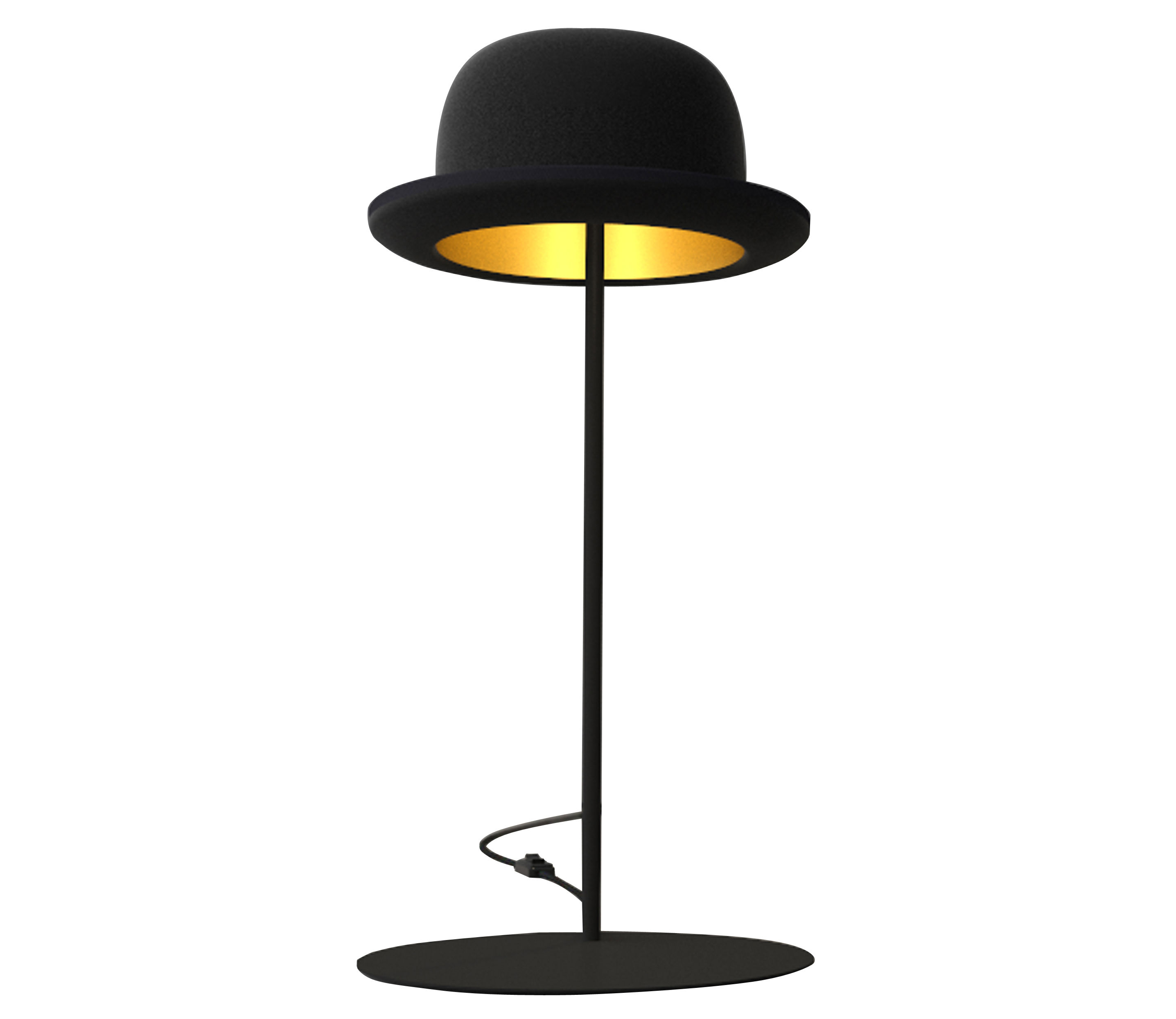 Lighting - Table Lamps - Jeeves Table lamp by Innermost - Black bowler / Gold inside - Black base - Anodized aluminium, Felted wool