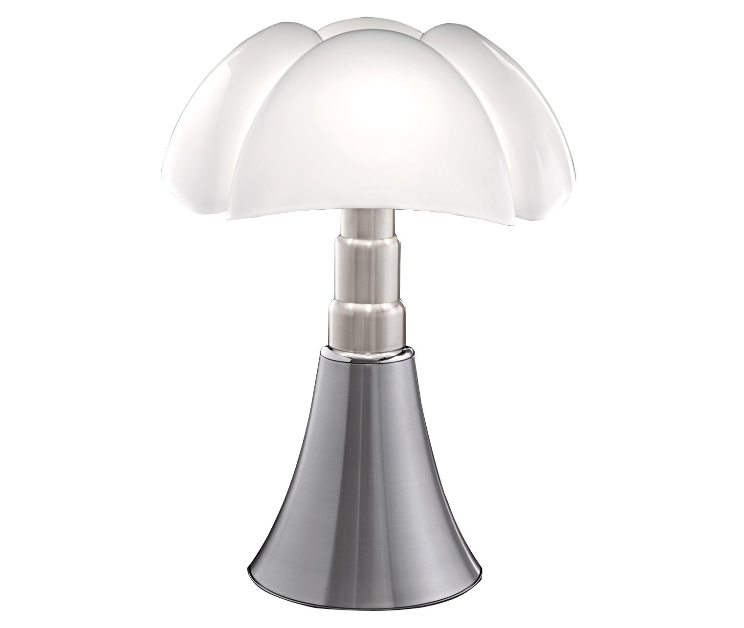 Lighting - Table Lamps - Pipistrello Table lamp - H 66 to 86 cm by Martinelli Luce - Satin aluminium - Galvanized steel, Lacquered aluminium, Opal methacrylate