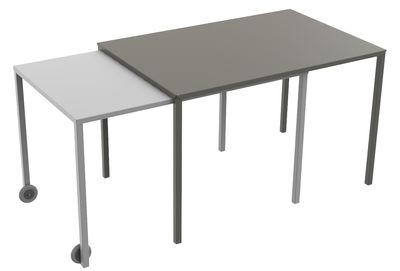 Arredamento - Tavoli - Tavolo con prolunga Rafale S - / da L 120 a 235 cm di Matière Grise - Tavolo superiore talpa / Tavolo inferiore grigio - Acciaio verniciato epossidico