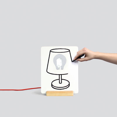 Leuchten - Drawlamp Tischleuchte / individualisierbar - Doiy - Weiß, Holz / Stromkabel rot - Holz, Keramik