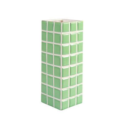 Déco - Vases - Vase Tile Large / 10.5 x 10.5 x 28 cm - & klevering - Menthe - Céramique