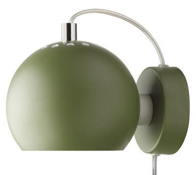 Lighting - Wall Lights - Ball Wall light with plug by Frandsen - Dark green matt - Varnished metal
