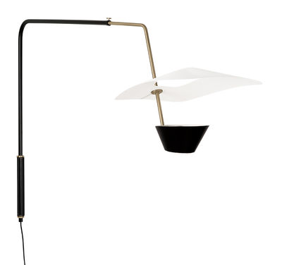 Lighting - Wall Lights - G25 Wall light with plug - / Potence – 1951 reissue, Pierre Guariche by SAMMODE STUDIO - Black, brass & white - Brushed brass, Lacquered metal, Lacquered steel
