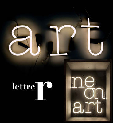 Lighting - Wall Lights - Neon Art Wall light with plug - Letter R by Seletti - White / Black cable - Glass