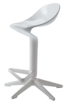 Furniture - Bar Stools - Spoon Adjustable bar stool - Pivoting - Plastic by Kartell - White - Polypropylene