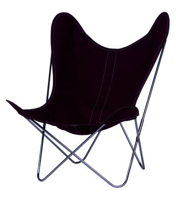 Furniture - Armchairs - AA Butterfly INDOOR Armchair - Cloth / Chromed structure by AA-New Design - Chromed frame / Plum cover - Chromed steel, Cotton