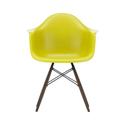 Furniture - Chairs - DAW - Eames Plastic Armchair Armchair - / (1950) - Dark wood legs by Vitra - Mustard yellow / Dark wood - Polypropylene, Solid maple