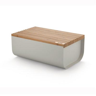 Boîte à pain Mattina / Acier & bambou - 34 x 21 cm - Alessi gris en métal/bois
