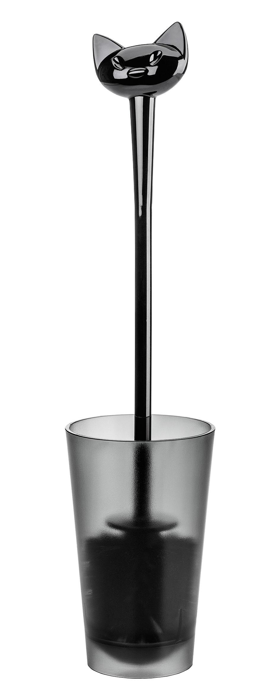 Accessoires - Accessoires salle de bains - Brosse WC Miaou - Koziol - Noir opaque - Plastique