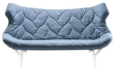Canapé droit Foliage L 175 cm Kartell blanc,bleu en tissu