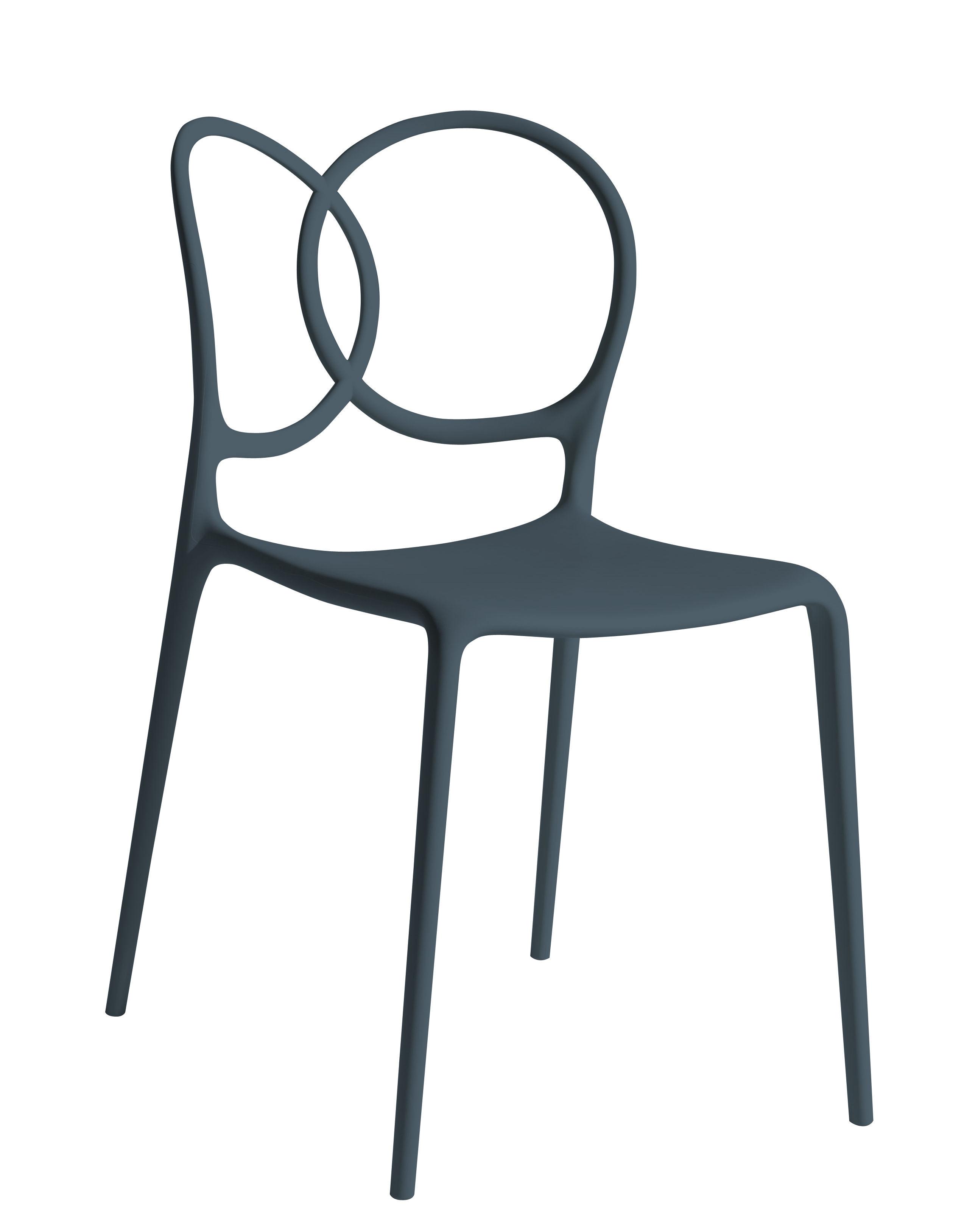 Mobilier - Chaises, fauteuils de salle à manger - Chaise empilable Sissi Outdoor - Driade - Gris foncé - Fibre de verre, Polyéthylène, Polypropylène