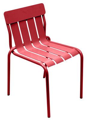 Mobilier - Chaises, fauteuils de salle à manger - Chaise empilable Stripe / Par Matali Crasset - Fermob - Coquelicot - Aluminium