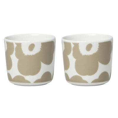 Tableware - Coffee Mugs & Tea Cups - Unikko Coffee cup - / Without handle - Set of 2 by Marimekko - Unikko / Beige - Sandstone