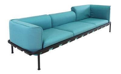 Arredamento - Divani moderni - Divano Dock / 3 posti - L 289 - Emu - Blu turchese / Struttura nera - alluminio verniciato, Schiuma di poliuretano, Tissu Batyline