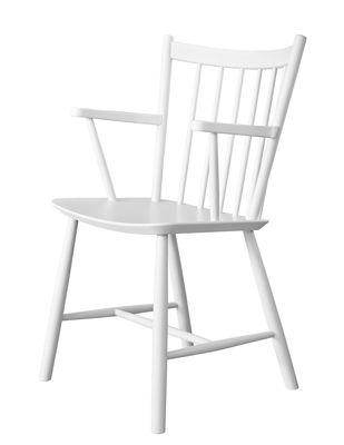 Mobilier - Chaises, fauteuils de salle à manger - Fauteuil J42 / Bois - Hay - Blanc - Hêtre laqué