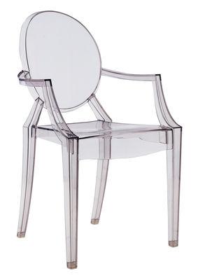 Mobilier - Chaises, fauteuils de salle à manger - Fauteuil empilable Louis Ghost / Polycarbonate - Kartell - Fumé transparent - Polycarbonate