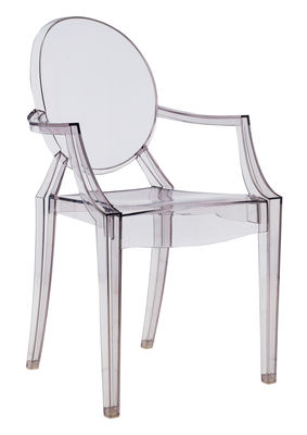 Fauteuil empilable Louis Ghost / Polycarbonate - Kartell gris en matière plastique