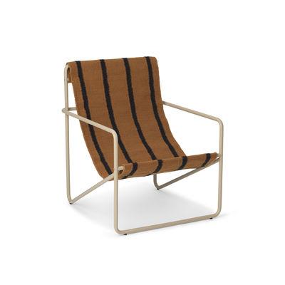 Fauteuil enfant Desert / Structure beige - Bouteilles plastique recyclées - Ferm Living marron/noir en tissu