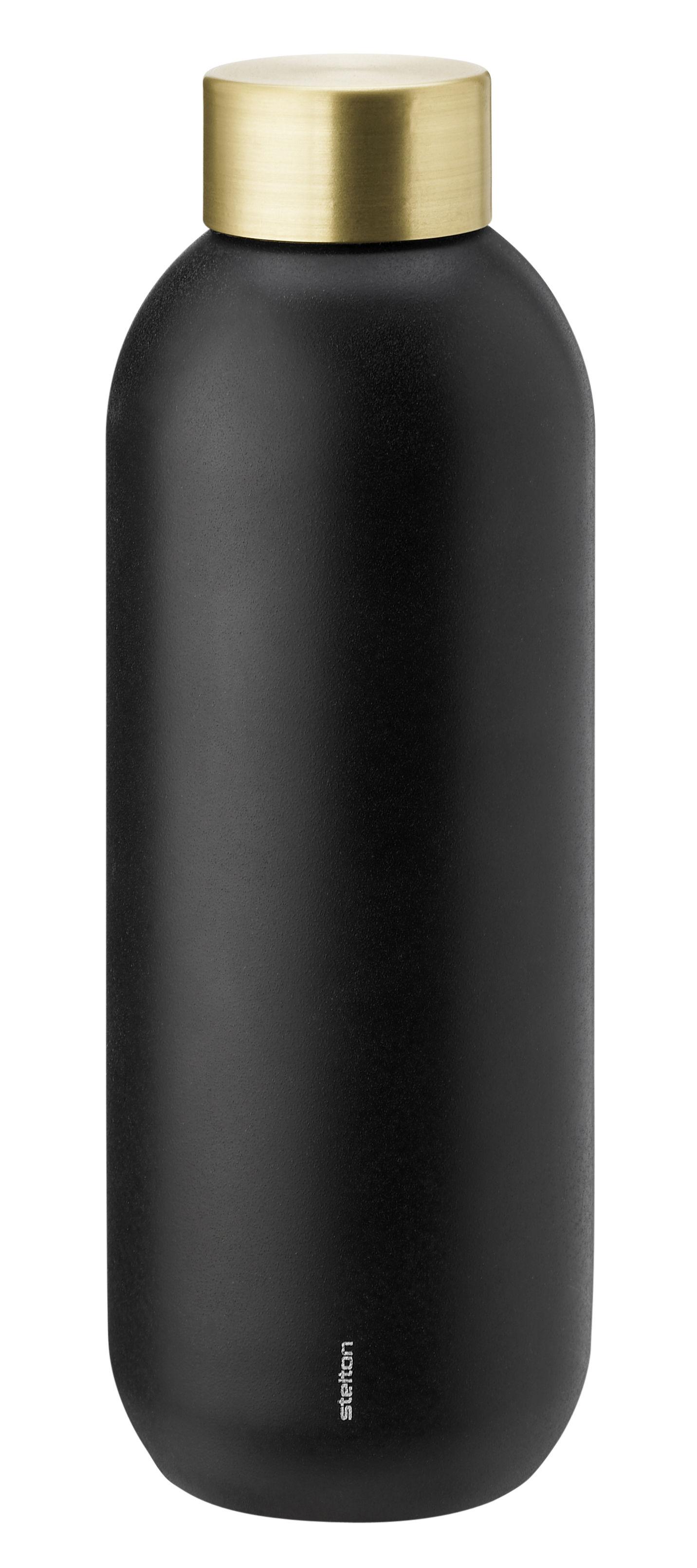 Tischkultur - Karaffen - Collar Flasche / 0,75 l - Stelton - Schwarzmatt & messingfarben - Acier inoxydable revêtu de laiton, Acier inoxydable revêtu de Téflon®