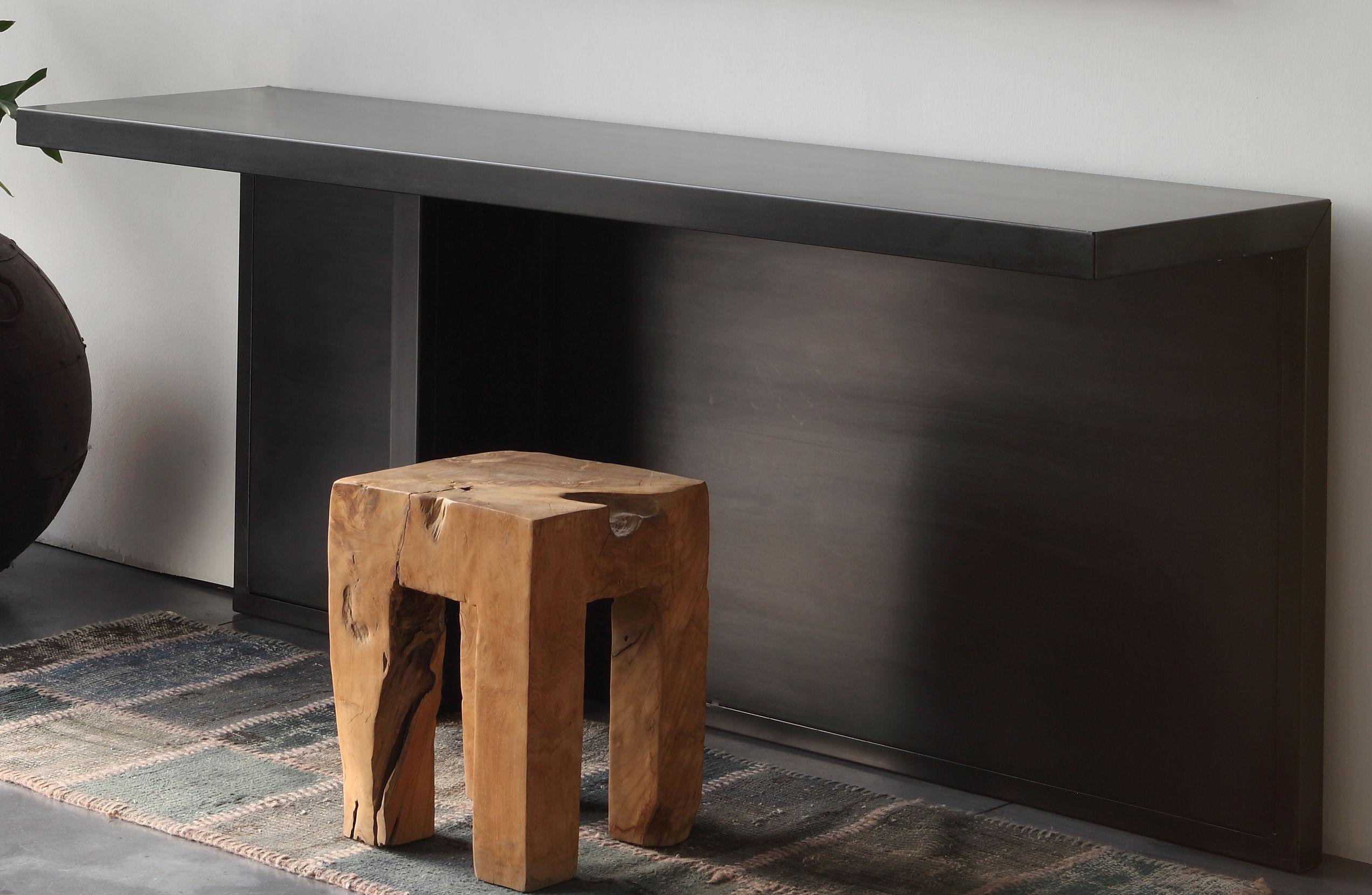 Möbel - Büromöbel - Atrium Konsole / Schreibtisch - L 170 cm x T 45 cm - Zeus - Schwarzmatt, phosphatiert - phosphatierter Stahl