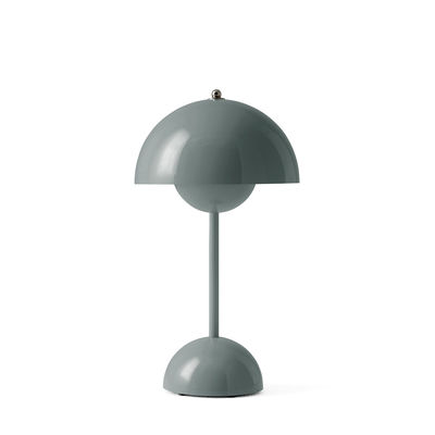 Luminaire - Lampes de table - Lampe sans fil Flowerpot VP9 / H 29,5 cm - By Verner Panton, 1968 - &tradition - Bleu Pierre - Polycarbonate