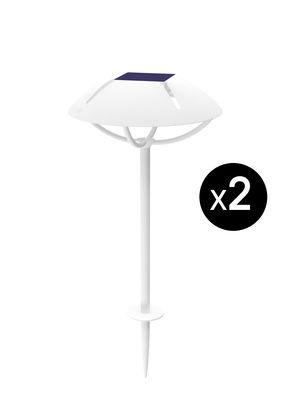 Lampe solaire Parabole LED / Hybride & connectée - à planter - Lot de 2 - Maiori blanc en métal