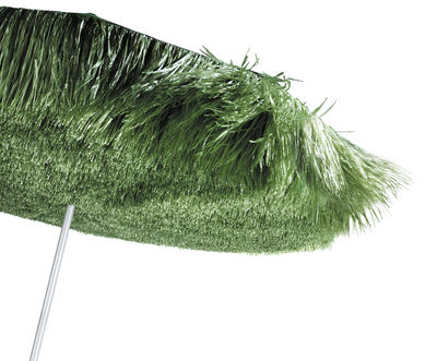 Outdoor - Parasols - Frou Frou Parasol by Symo - Green sunshade / steel pole - Polyester fabric, Raffia, Stainless steel