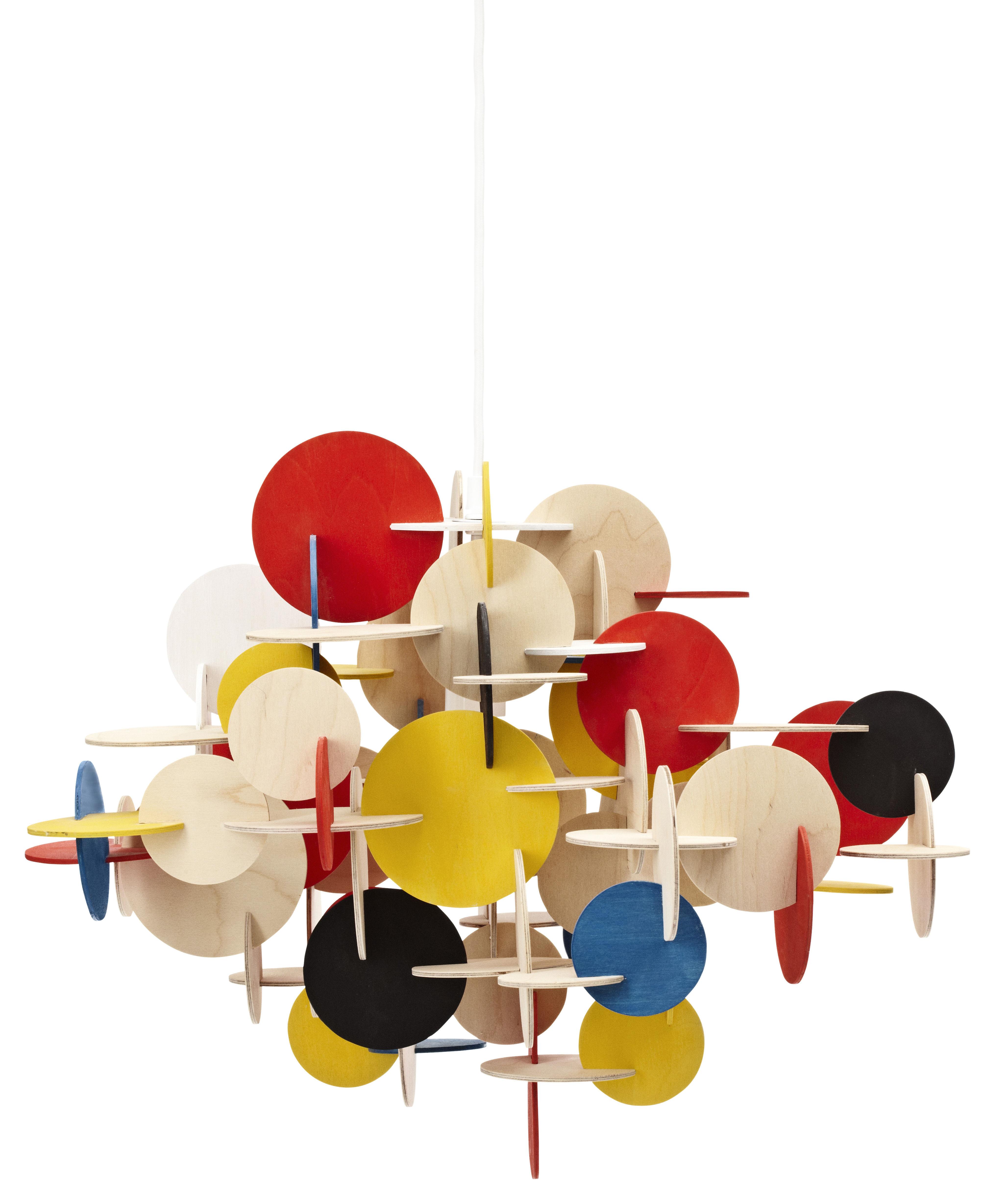 Leuchten - Pendelleuchten - Bau Small Pendelleuchte Hängelampe - Normann Copenhagen - H 44 cm - gelb, rot, schwarz, blau & Kiefer natur - Kiefer