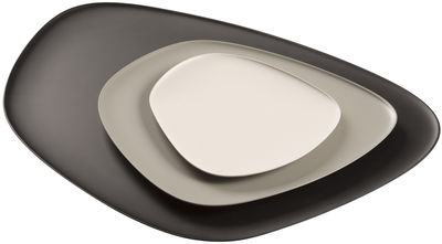 Tableware - Plates - Namasté Plate - Dish - Set 3 stackables pieces by Kartell - Black, Grey , Taupe - Melamine