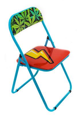 Sedia pieghevole Eclair - / imbottita di Seletti - Blu,Multicolore - Materiale plastico
