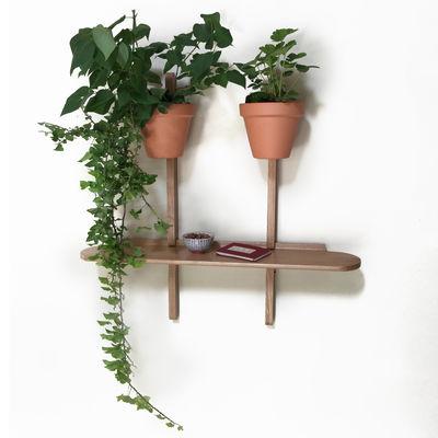 Furniture - Bookcases & Bookshelves - XPOT Shelf - / 1 round shelf L 100 cm + 2 supports H 100 cm by Compagnie - Oak - Varnished solid oak