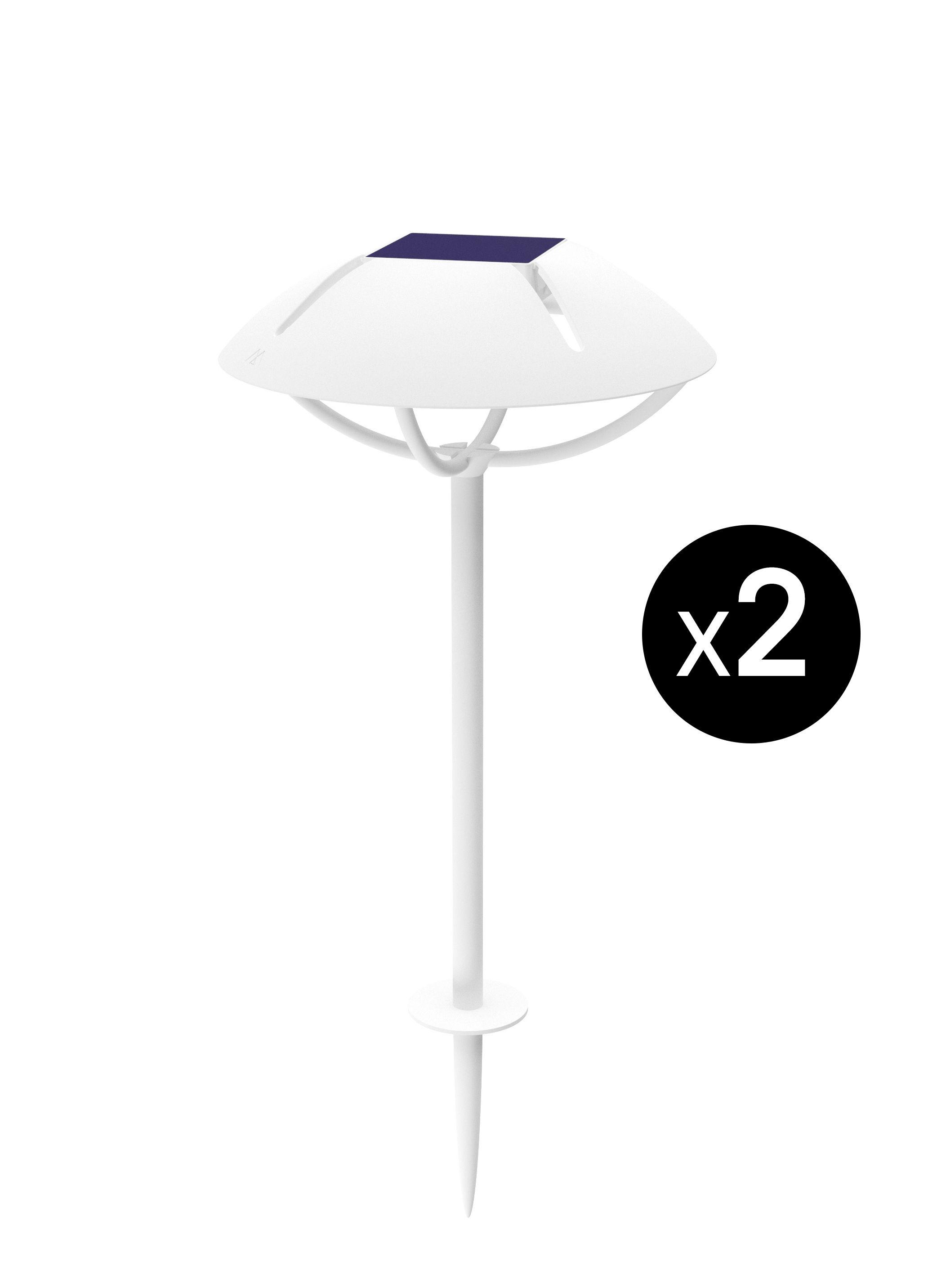 Leuchten - Außenleuchten - Parabole LED Solarlampe / zum Einstecken in die Erde / 2er-Set - Maiori - Weiß - lackiertes Aluminium