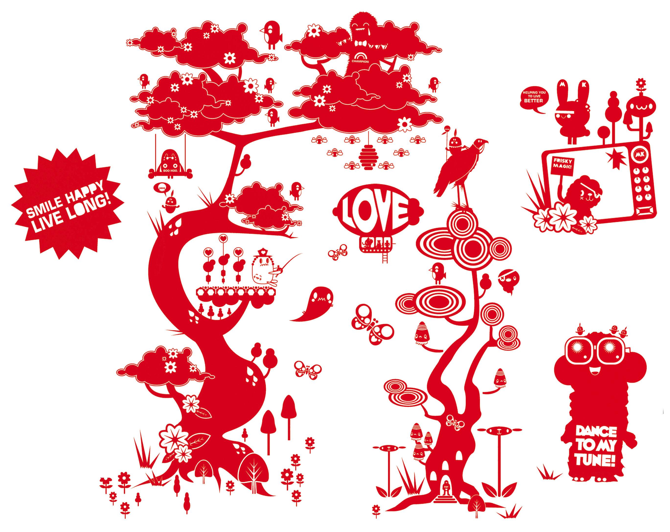 Dekoration - Stickers und Tapeten - Flora and Fauna 3 Sticker - Domestic - Rot - Vinyl