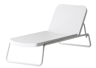 Outdoor - Sun Loungers & Hammocks - Time out Sun lounger - Reclining by Serralunga - White / White structure - Lacquered metal, Polythene
