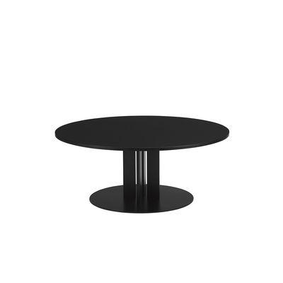 Mobilier - Tables basses - Table basse Scala / Ø 110 x H 40 cm - Chêne noir - Normann Copenhagen - Chêne noir - Acier verni, Contreplaqué de chêne teinté