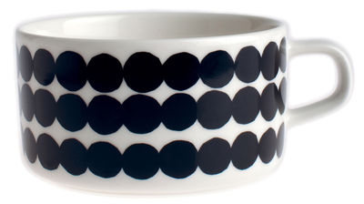 Arts de la table - Tasses et mugs - Tasse à thé Siirtolapuutarha - Marimekko - Räsymatto / Noir & blanc - Grès