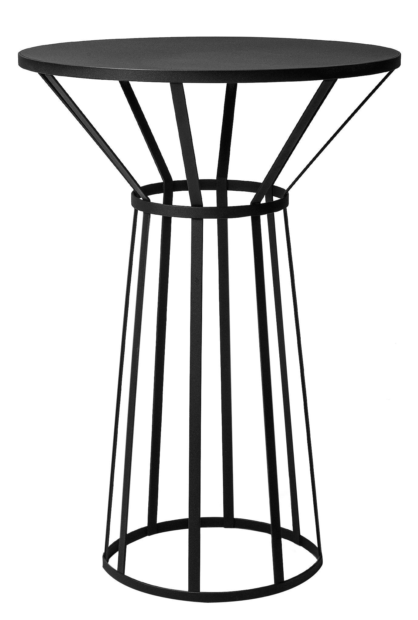 Arredamento - Tavolini  - Tavolino Hollo / Ø 50 x H 73 cm - Petite Friture - Nero - Acciaio inossidabile