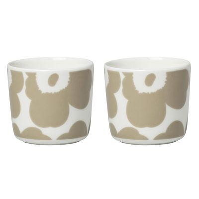 Tavola - Tazze e Boccali - Tazzina da caffè Unikko - / Senza manico - Set di 2 di Marimekko - Unikko / Beige - Gres