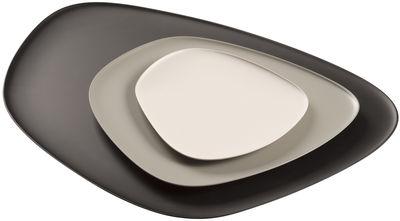 Tischkultur - Teller - Namasté Teller / Teller - Set aus 3 stapelbaren Teilen - Kartell - Schwarz, grau, taubengrau - Melamin
