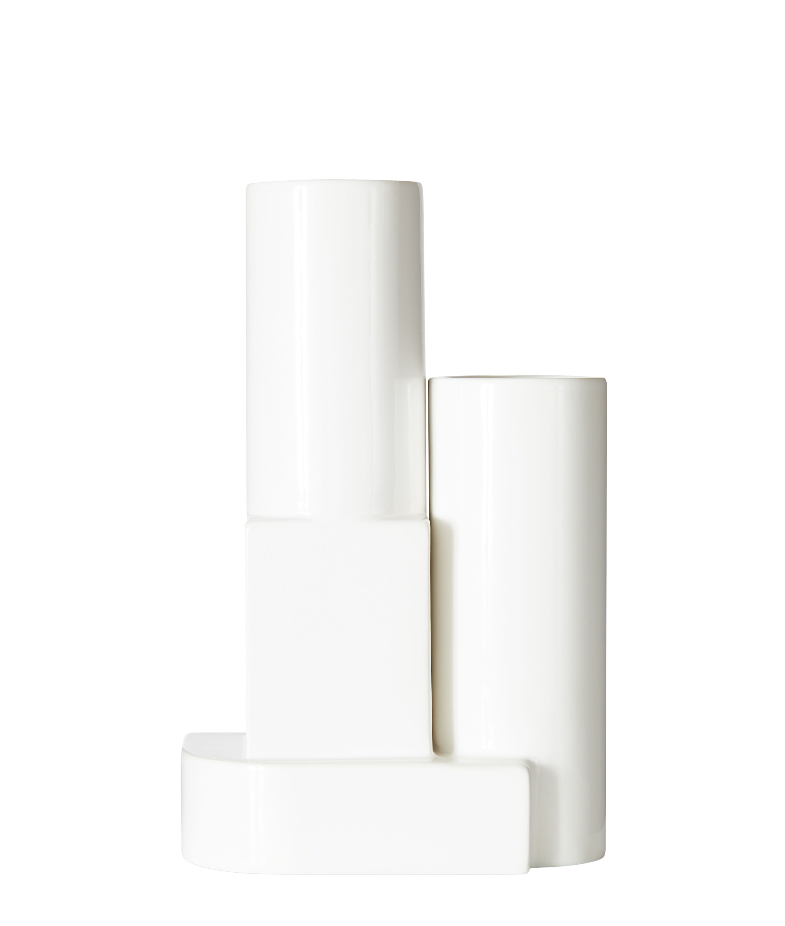 Decoration - Vases - Block Small Vase - / H 26 cm by Tom Dixon - White - Enamelled earthenware