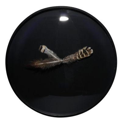 Dekoration - Uhren - Wanduhr mit Federn - L'atelier d'exercices - Schwarz / Federn gelbbraun - Glas, Holz