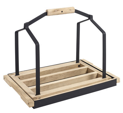 Decoration - Boxes & Baskets - Daysign Wood holder by Serax - Natural wood / Black - Metal, Oak