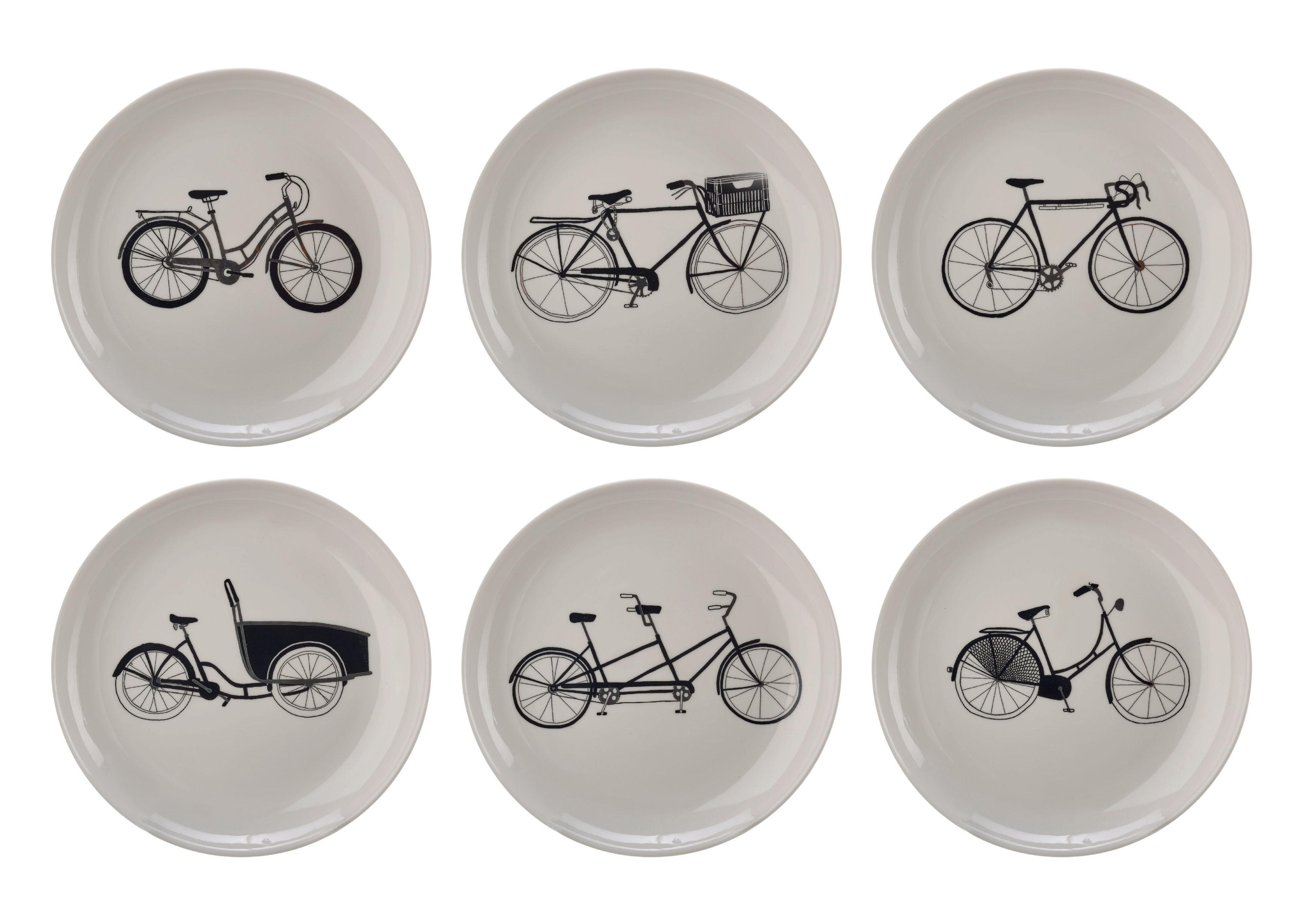 Arts de la table - Assiettes - Assiette à dessert Bikes / Ø 20 cm - Set de 6 - Pols Potten - Noir, blanc & argent - Porcelaine vitrifiée